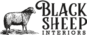 Interior design logo showing an engraving-style illustraion of a black sheep.